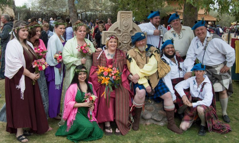 Bridal party at the Celtic cross