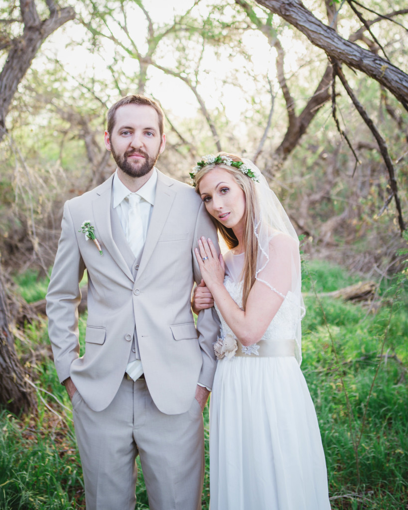 Natural themed wedding couple